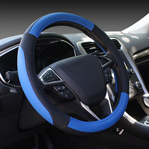 Black & Blue Steering Wheel Standard Size Universal Cover