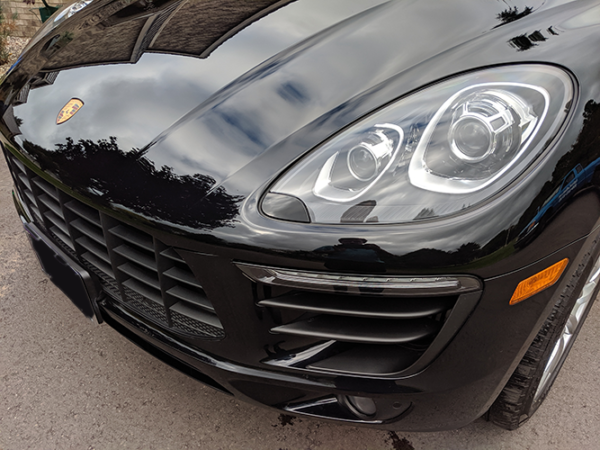 Exterior Detailed Black Porsche Front View