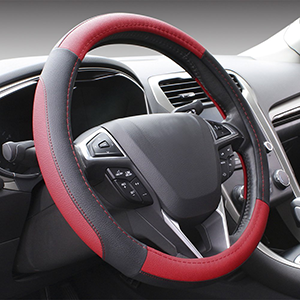 Black and Red Steering Wheel Standard Size Universal Cover